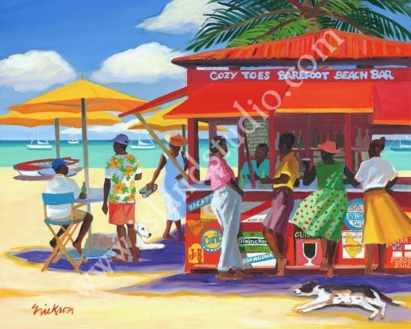 Cozy Toes Caribbean People Painting By Shari Erickson