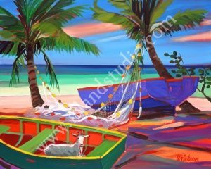 316 Goat in a Boat Tropical Seascape Painting By Shari Erickson