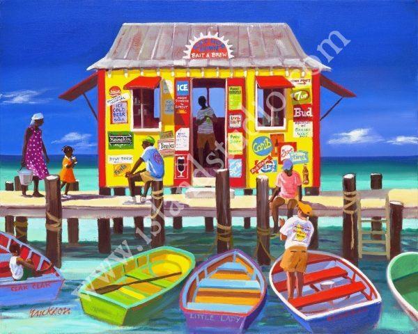 542 Anchor Down Tropical Print By Shari Erickson