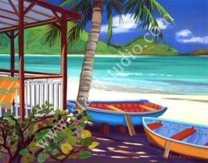 525 Beach Bums Caribbean Landscape Painting By Shari Erickson