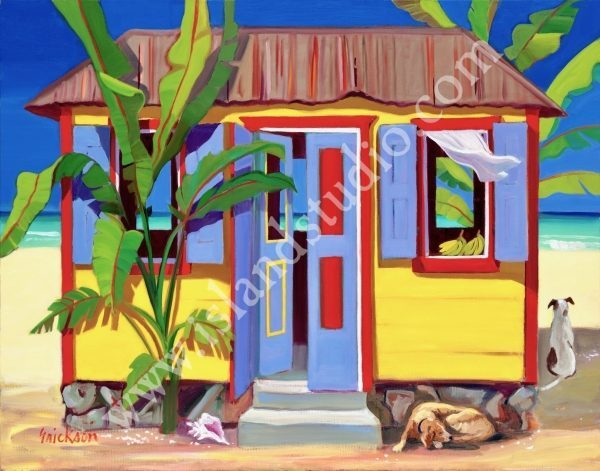 541 Banana Cabana II Coastal Painting By Shari Erickson