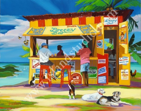 318 Birdie's Breezy Bar Landscape Painting By Shari Erickson