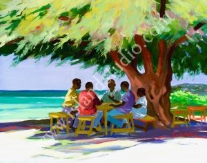 143 Dominoes Caribbean Landscape Painting By Shari Erickson