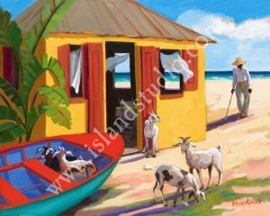 591 Goat Beach Caribbean Oil Painting By Shari Erickson