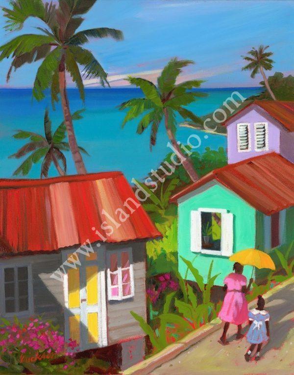 514 Hilltown Seascape Oil Painting By Shari Erickson