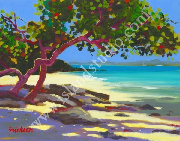367 Honeymoon Beach Tropical Painting By Shari Erickson