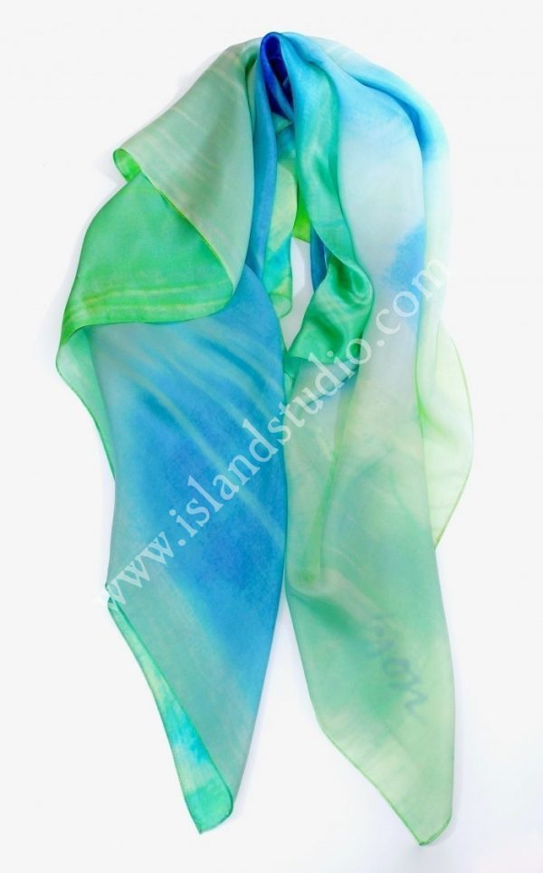 Exuma $79.00 Blue Green Scarf By Shari Erickson