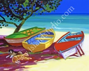 385 Lazy Beach Caribbean Oil Painting By Shari Erickson
